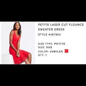Ann Taylor Laser Cut Flounce Sweater Dress, Petite